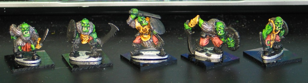 Five orcs from the front - work in progress